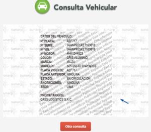 Colocar el numero de placa para consultar vehículo robado en SUNARP.